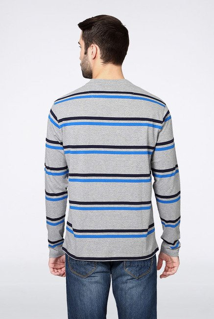 Allen Solly Grey Striped T-Shirt