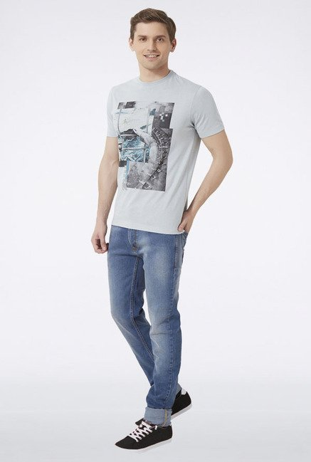 Peter England Grey Graphic Print T-Shirt