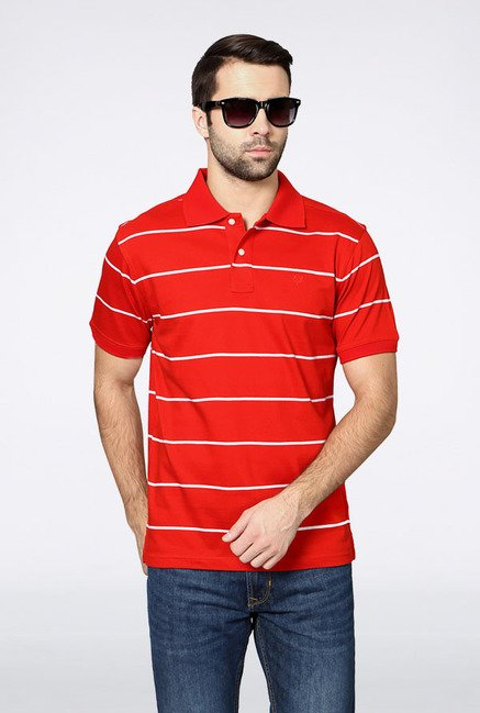 Allen Solly Red Striped Polo T-Shirt