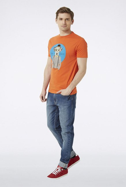 Peter England Orange Graphic Print T-Shirt