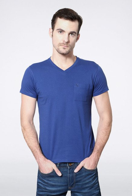 Allen Solly Blue Solid V-neck T-Shirt