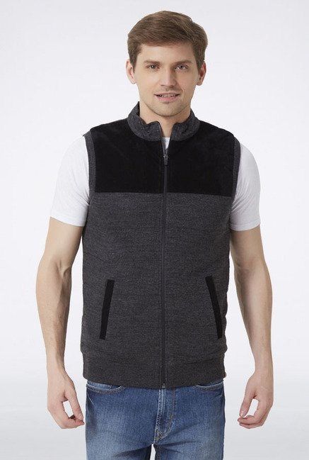 Peter England Grey & Black Sleeveless Sweater