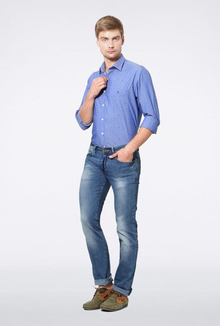 Allen Solly Blue Heavily Washed Jeans