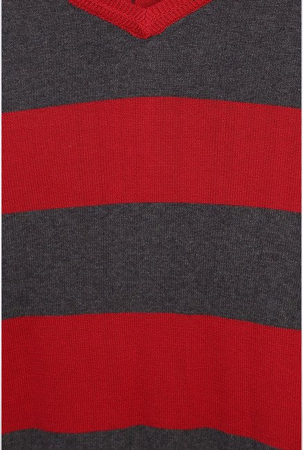 Peter England Red Striped Sweater