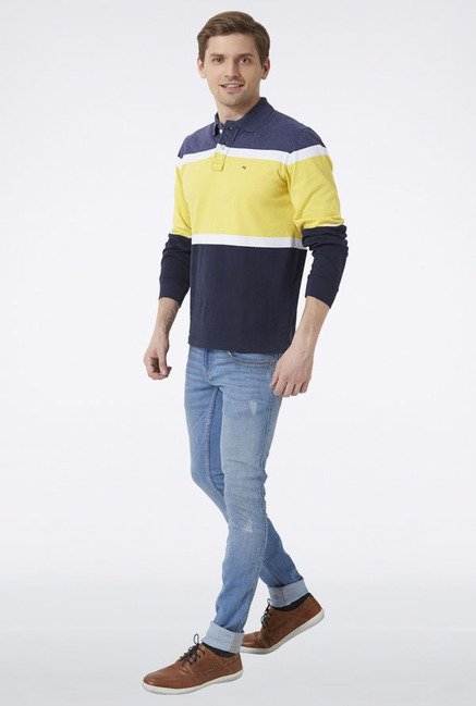 Peter England Navy & Yellow Solid T-Shirt