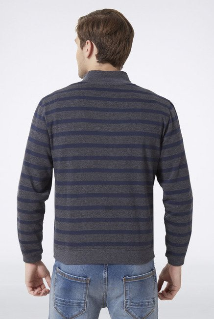 Peter England Grey Striped T-Shirt