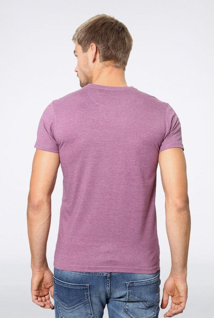 Allen Solly Purple Solid V-neck T-Shirt