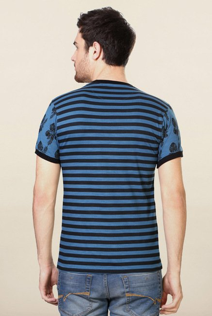 Peter England Blue Striped T-Shirt