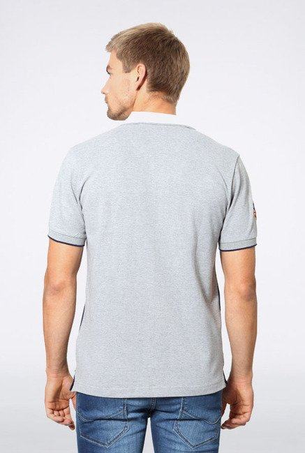 Allen Solly Grey & Blue Printed Polo T-Shirt