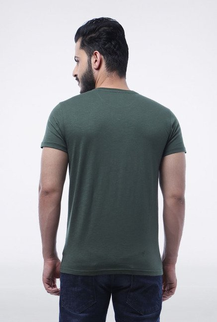 Allen Solly Green Solid V-neck T-Shirt