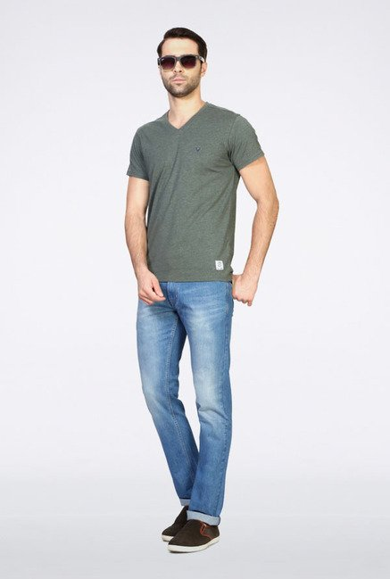 Allen Solly Grey Solid V-neck T-Shirt