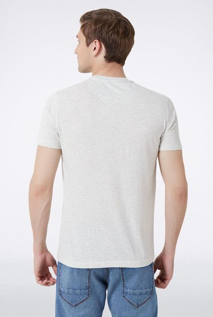 Peter England White Graphic Print T-Shirt