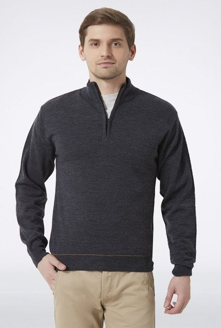 Peter England Grey High Neck Sweater