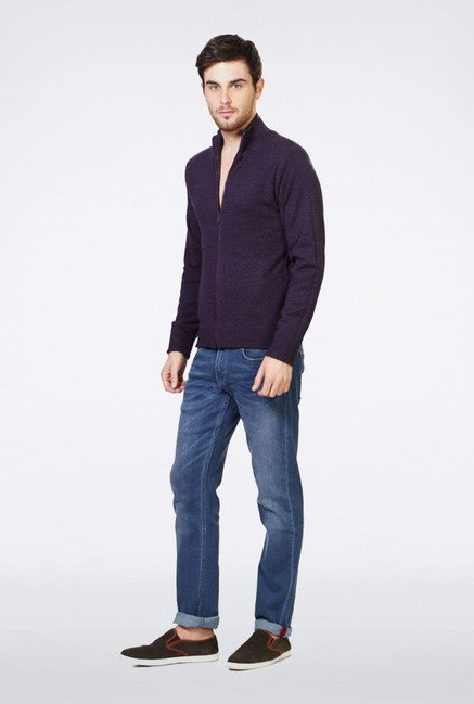 Peter England Purple Solid Sweater