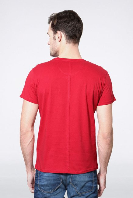 Allen Solly Red Solid V-neck T-Shirt