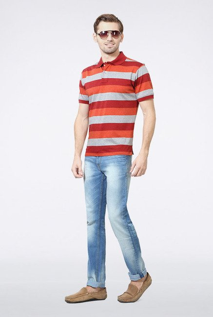 Allen Solly Orange & Grey Striped Polo T-Shirt