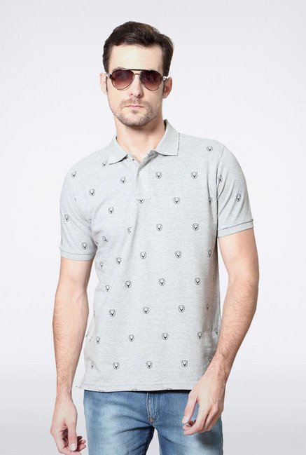Allen Solly Grey Printed Polo T-Shirt