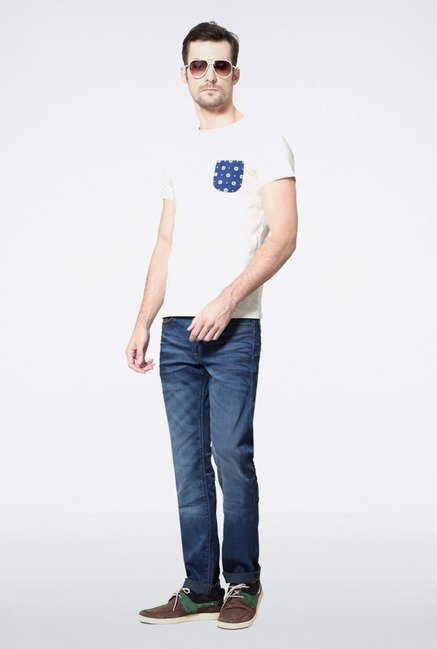 Allen Solly White Solid T-Shirt