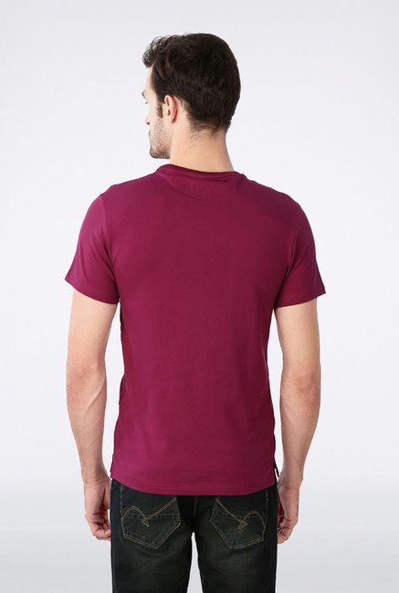Peter England Dark Pink Solid T-Shirt