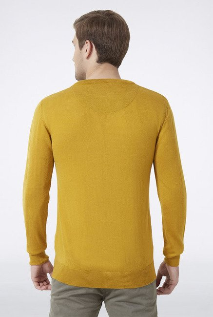 Peter England Mustard Solid Sweater