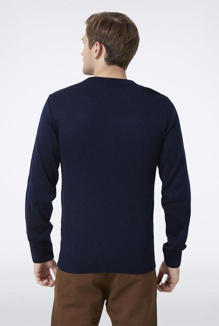 Peter England Navy Solid Sweater