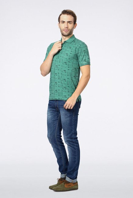 Peter England Green Printed Polo T-Shirt