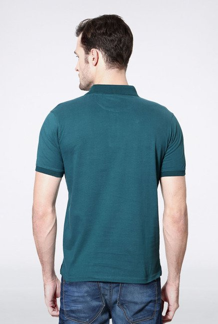 Allen Solly Green & Navy Solid Polo T-Shirt