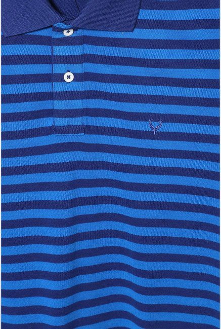 Allen Solly Blue Striped Polo T-Shirt