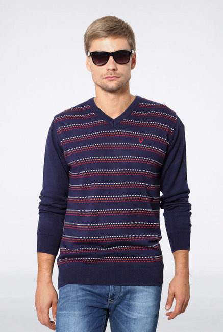 Allen Solly Navy Striped Sweater