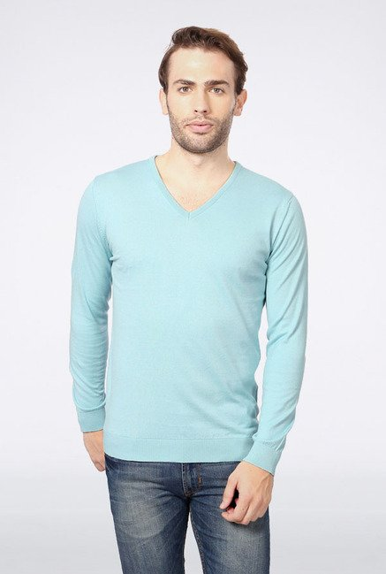 Peter England Blue Solid V-neck T-Shirt