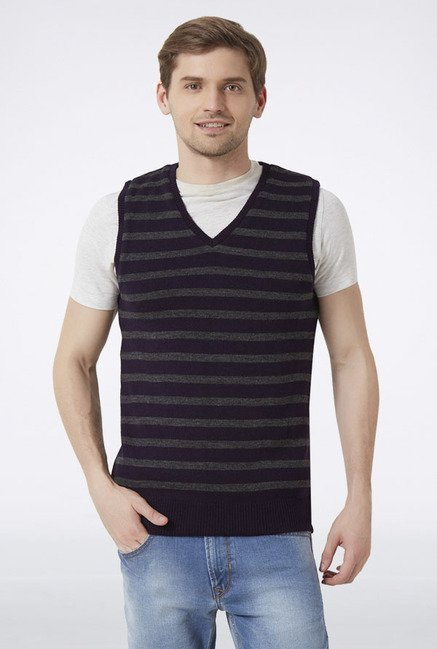 Peter England Navy Striped Sleeveless Sweater