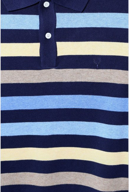 Allen Solly Blue & Yellow Striped Polo T-Shirt