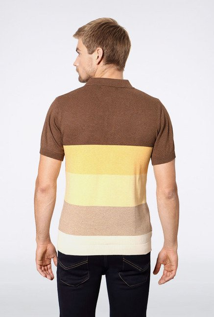 Allen Solly Brown & Yellow Striped Polo T-Shirt