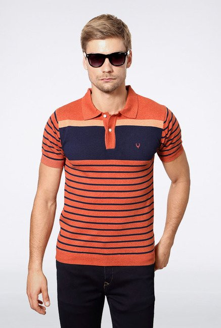 Allen Solly Orange Striped Polo T-Shirt