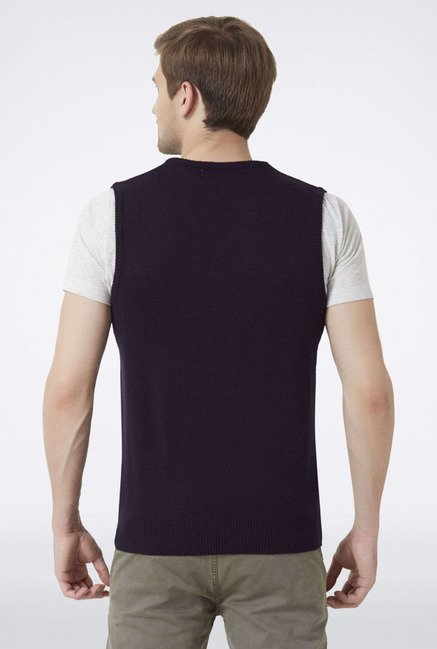 Peter England Navy Solid Sleeveless Sweater