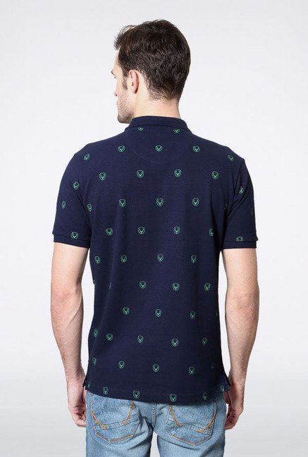 Allen Solly Navy Printed Polo T-Shirt
