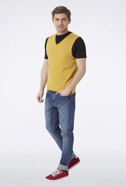 Peter England Yellow Solid Sleeveless Sweater