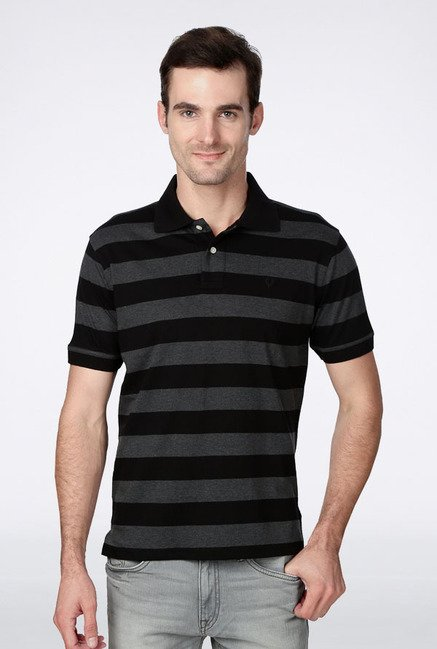 Allen Solly Black & Grey Striped Polo T-Shirt