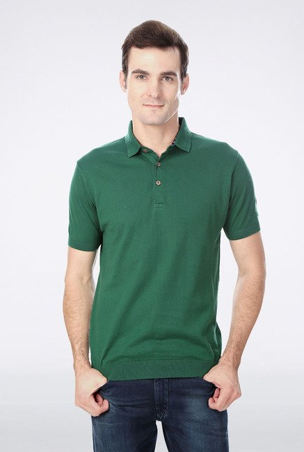 Peter England Green Solid Polo T-Shirt