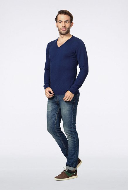 Peter England Navy Solid Cotton Sweater