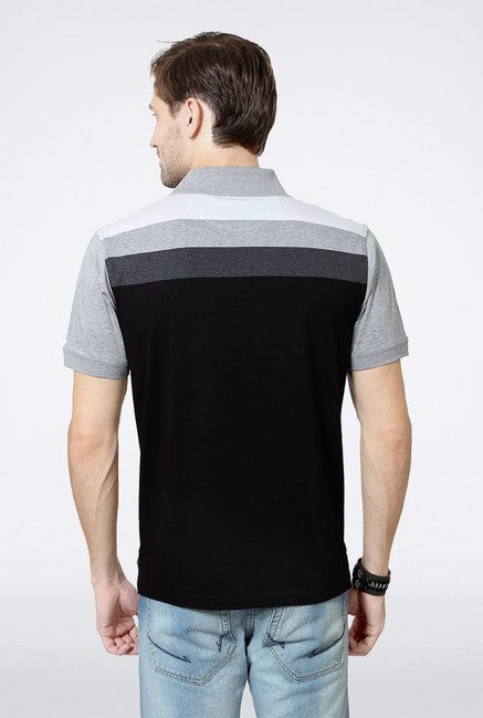 Allen Solly Black & Grey Solid Polo T-Shirt