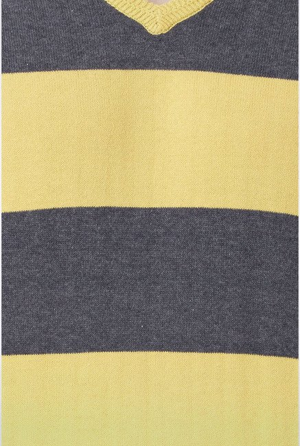 Peter England Yellow Striped Sweater