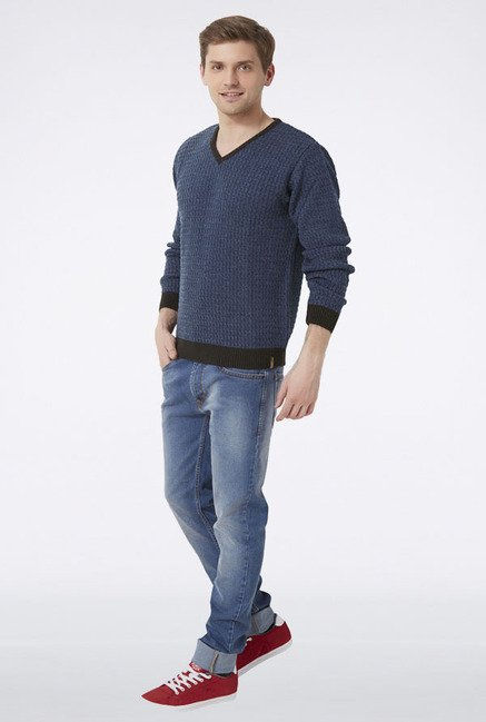 Peter England Navy Solid V-Neck Sweater