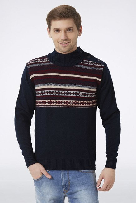 Peter England Navy High Neck Sweater