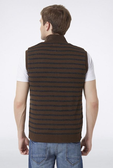 Peter England Brown Striped Sweater