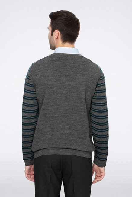 Peter England Grey V-Neck Sweater