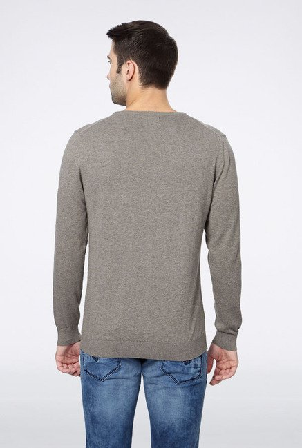 Peter England Grey Cotton Sweater