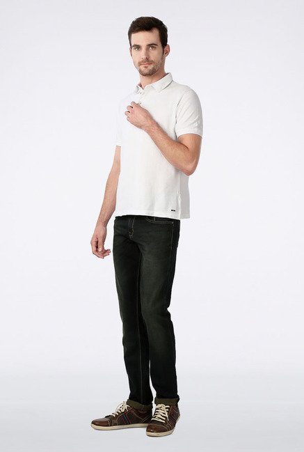 Peter England White Solid Polo T-Shirt