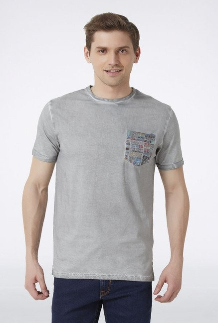 Peter England Grey Solid T-Shirt