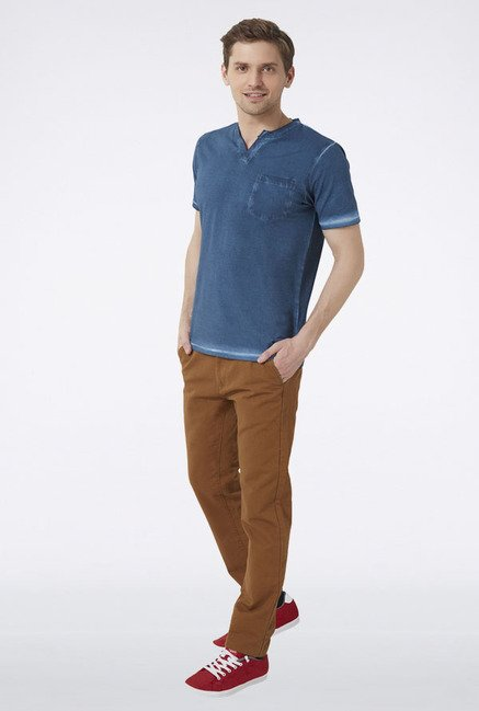 Peter England Blue Solid T-Shirt